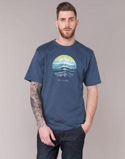 Textiel Heren T-shirts korte mouwen Columbia CSC MOUNTAIN SUNSET Blauw