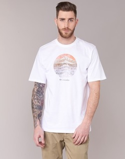 Textiel Heren T-shirts korte mouwen Columbia CSC MOUNTAIN SUNSET Wit