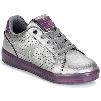 Schoenen Meisjes Lage sneakers Geox J KOMMODOR G.A Zilver / Prune