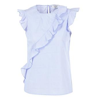 Textiel Dames Tops / Blousjes Morgan MARFIZ Blauw / Wit