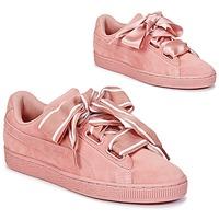 Schoenen Dames Lage sneakers Puma Basket Heart Satin Roze
