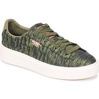 Schoenen Dames Lage sneakers Puma Basket Platform Bi Color Kaki