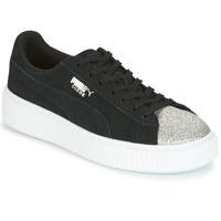Schoenen Dames Lage sneakers Puma SUEDE PLATFORM GLAM JR Zwart / Zilver
