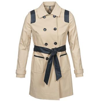 Textiel Dames Trenchcoats Naf Naf BARTABA Beige / Zwart