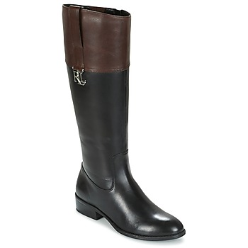 Schoenen Dames Hoge laarzen Ralph Lauren MERRIE Zwart / Brown