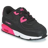 Schoenen Meisjes Lage sneakers Nike AIR MAX 90 LEATHER TODDLER Zwart / Roze