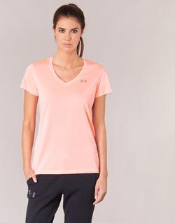 Textiel Dames T-shirts korte mouwen Under Armour TECH SSV - TWIST Corail