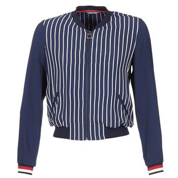 Textiel Dames Jasjes / Blazers Tommy Hilfiger NALOME GLOBAL STP BOMBER Marine / Wit / Rood