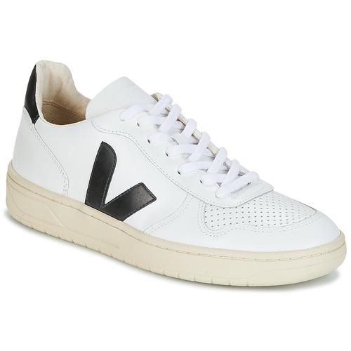 Schoenen Lage sneakers Veja V-10 Wit / Zwart