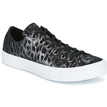 Schoenen Dames Lage sneakers Converse CHUCK TAYLOR ALL STAR SHIMMER SUEDE OX BLACK/BLACK/WHITE Zwart / Wit