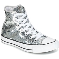 Schoenen Dames Hoge sneakers Converse CHUCK TAYLOR ALL STAR SEQUINS HI SILVER/WHITE/BLACK Zilver