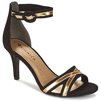 Schoenen Dames Sandalen / Open schoenen Tamaris   zwart / GOLD