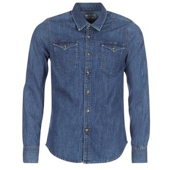 Textiel Heren Overhemden lange mouwen Yurban HERZI Blauw / Medium