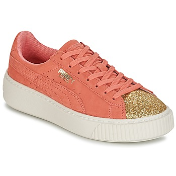 Schoenen Meisjes Lage sneakers Puma SUEDE PLATFORM GLAM JR Orange / Goud