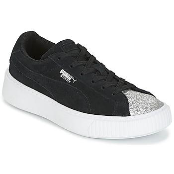 Schoenen Meisjes Lage sneakers Puma SUEDE PLATFORM GLAM PS Zwart / Zilver