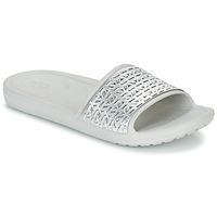Schoenen Dames Slippers Crocs SLOANE GRAPHIC ETCHED SLIDE W Wit / Zilver