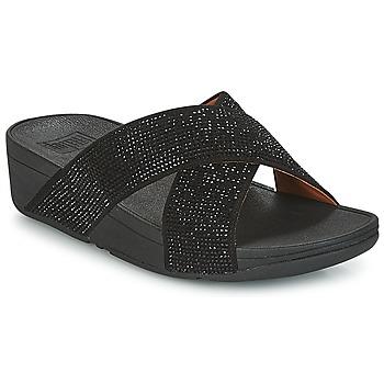 Schoenen Dames Leren slippers FitFlop CRYSTAL II SLIDE SANDALS Zwart