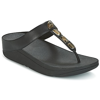Schoenen Dames Slippers FitFlop ROKA TOE-THONG SANDALS Zwart