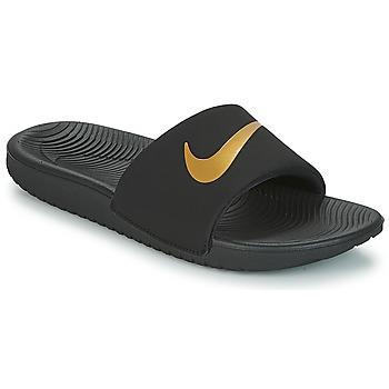Schoenen Kinderen Slippers Nike KAWA GROUNDSCHOOL SLIDE Zwart / Goud