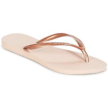 Schoenen Dames Slippers Havaianas SLIM Roze / Goud