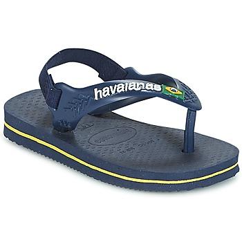 Schoenen Jongens Slippers Havaianas BABY BRASIL LOGO Marine / Geel