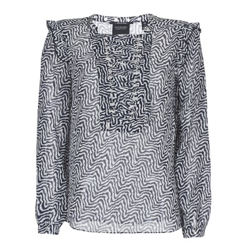 Textiel Dames Tops / Blousjes Scotch & Soda OLZAKD Zwart / Wit