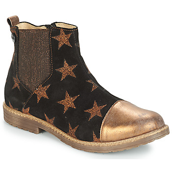 Schoenen Meisjes Laarzen GBB LEONTINA Zwart / Brons