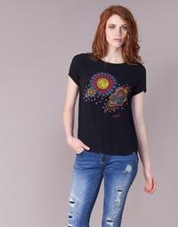 Textiel Dames T-shirts korte mouwen Desigual NAIKLE Zwart