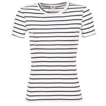 Textiel Dames T-shirts korte mouwen Petit Bateau  Wit / Marine