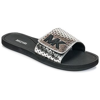 Schoenen Dames Slippers MICHAEL Michael Kors MK SLIDE Zwart / Zilver