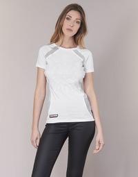 Textiel Dames T-shirts korte mouwen Philipp Plein Sport FORMA LINEA Wit / Wit
