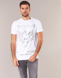 Textiel Heren T-shirts korte mouwen Philipp Plein Sport EDBERG Wit / Zilver