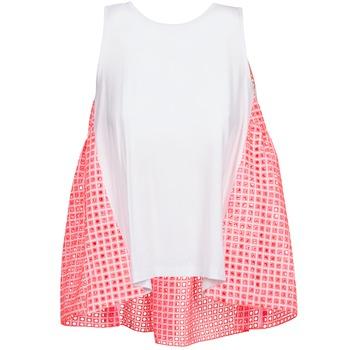 Textiel Dames Mouwloze tops Manoush AJOURE CARRE Wit / Roze