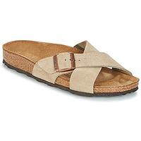 Schoenen Dames Leren slippers Birkenstock SIENA Taupe