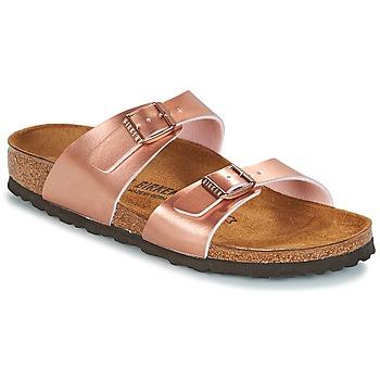 Schoenen Dames Leren slippers Birkenstock SYDNEY Roze / Gold