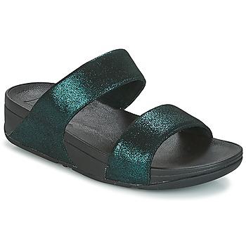 Schoenen Dames Leren slippers FitFlop SLIDE Groen