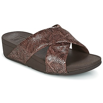 Schoenen Dames Leren slippers FitFlop SWOOP SLIDE Chocolade