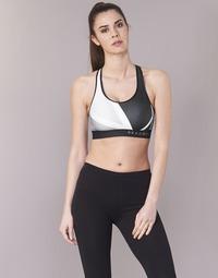 Textiel Dames Sport BHs Under Armour ARMOUR MID KEYHOLE PRINT Zwart / Wit