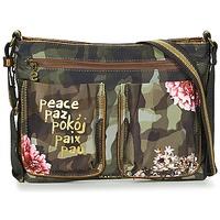Tassen Dames Handtassen kort hengsel Desigual BOLS_BAQUEIRA MILITAR FLORES Zwart / Multikleuren
