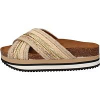 Schoenen Dames Slippers 5 Pro Ject sandali beige tessuto oro AC586 Beige