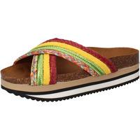 Schoenen Dames Slippers 5 Pro Ject sandali verde tessuto giallo AC589 Multicolore