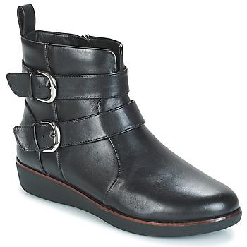 Schoenen Dames Laarzen FitFlop LAILA DOUBLE BUCKLE Zwart