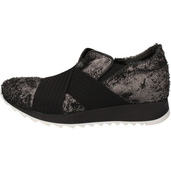 Schoenen Dames Lage sneakers Andia Fora sneakers argento tessuto nero pelle AD326 Nero