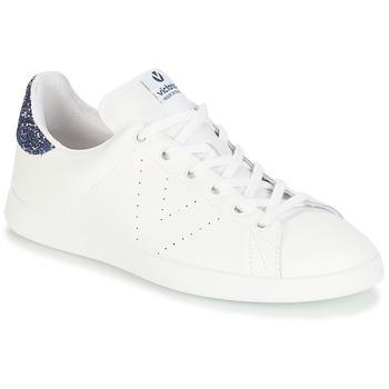 Schoenen Meisjes Lage sneakers Victoria DEPORTIVO BASKET PIEL Wit / Blauw