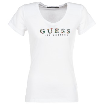 Textiel Dames T-shirts korte mouwen Guess GIPSY Wit