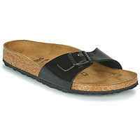 Schoenen Dames Leren slippers Birkenstock MADRID Zwart / Verni