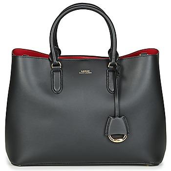 Tassen Dames Handtassen kort hengsel Lauren Ralph Lauren DRYDEN MARCY SATCHEL LARGE Zwart / Rood