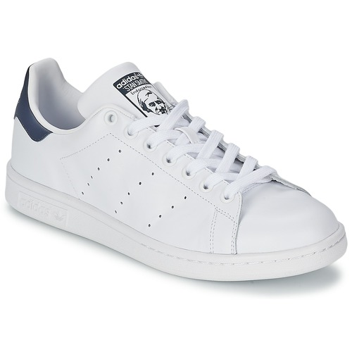 Schoenen Lage sneakers adidas Originals STAN SMITH Wit / Blauw