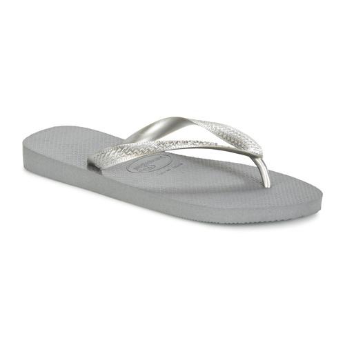 Schoenen Dames Slippers Havaianas TOP METALLIC Grijs / Staal