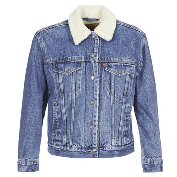 Textiel Dames Spijker jassen Levi's EX-BF SHERPA TRUCKER Addicted /  to / Love